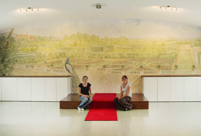 Illusionsmalerei Barocke Parkanlage mit Pfau