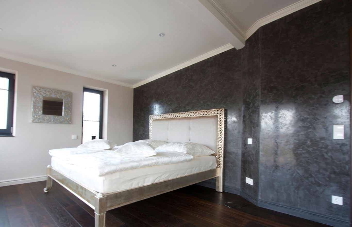 Wandgestaltung, Kalkpresstechnik, Schlafzimmer