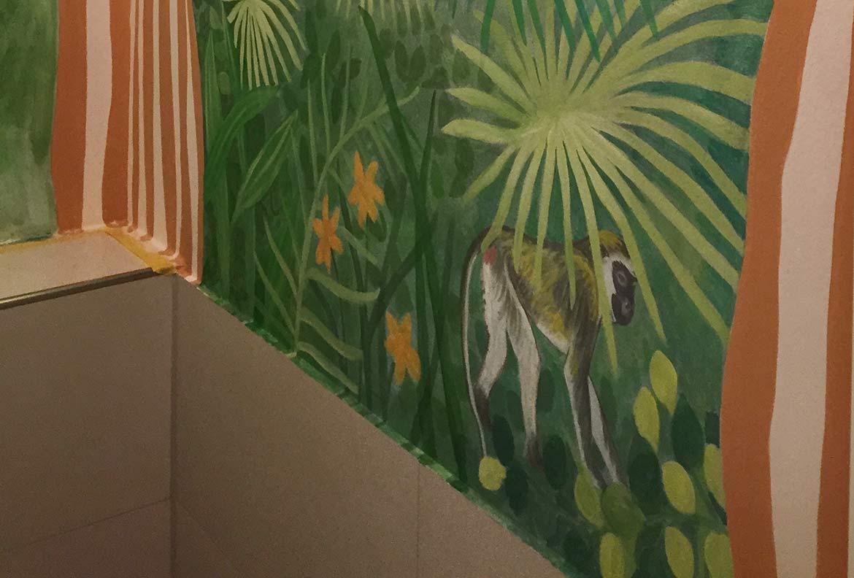 Dschungel Malerei, Dekorationsmalerei, Gäste WC