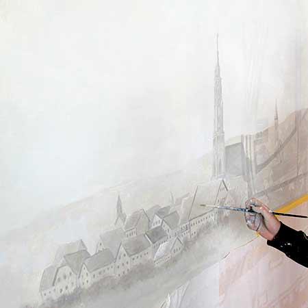 Illusionsmalerei Landschaft Dorfansicht Graumalerei